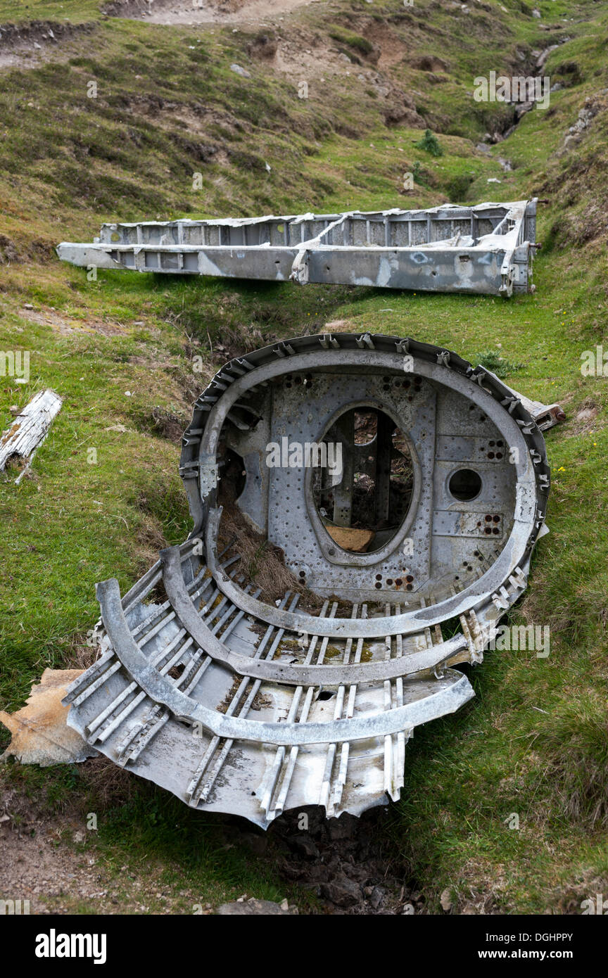 The remains of the crashed Heinkel plane, Fair Isle, Shetland, Scotland, United Kingdom, Europe - Stock Image