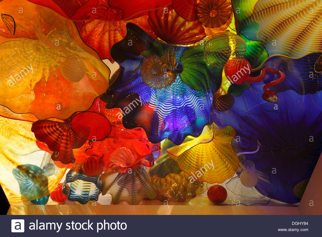 Exhibition of coloured glass by Dale Chihuly, Montreal Museum of Fine Arts, Montréal, Quebec Province, Canada - Stock Image