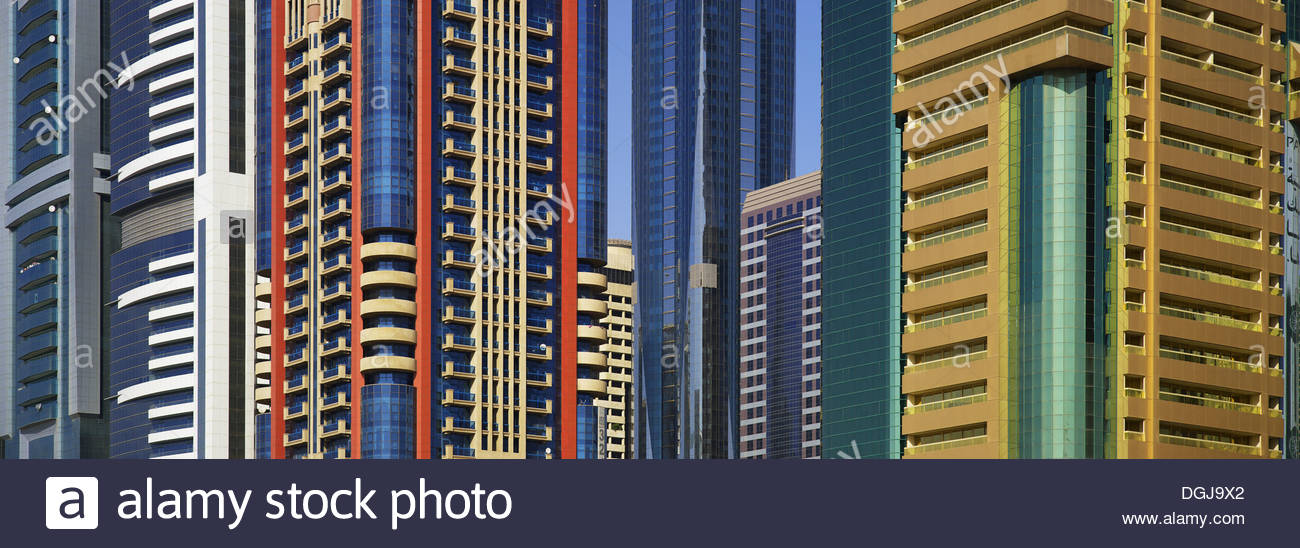 Colourful office buildings in Dubai. - Stock Image