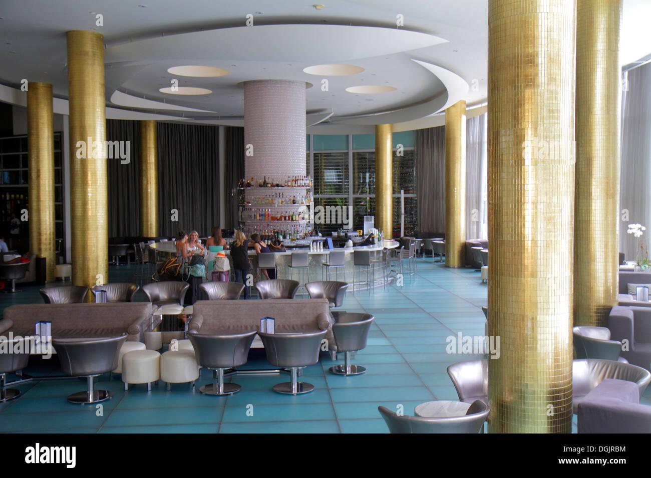 Miami Beach Florida Collins Avenue Fontainebleau Miami Beach hotel inside interior lobby bar Stock Photo