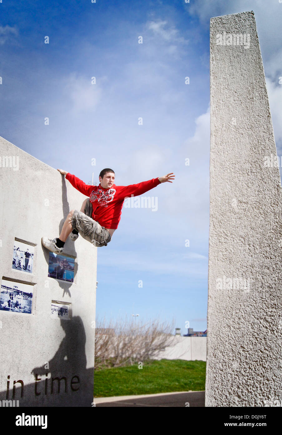 A freerunning athlete in action. - Stock Image