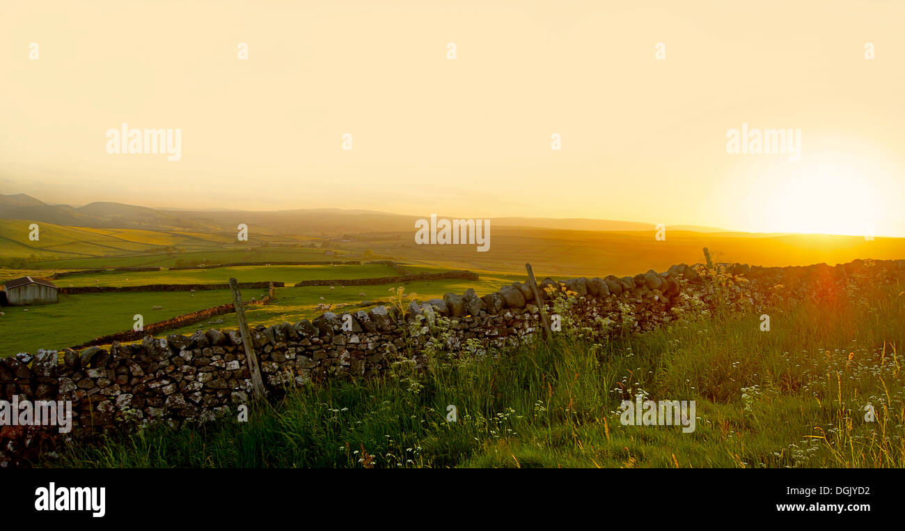 A view across the Yorkshire Dales at sunset. - Stock Image