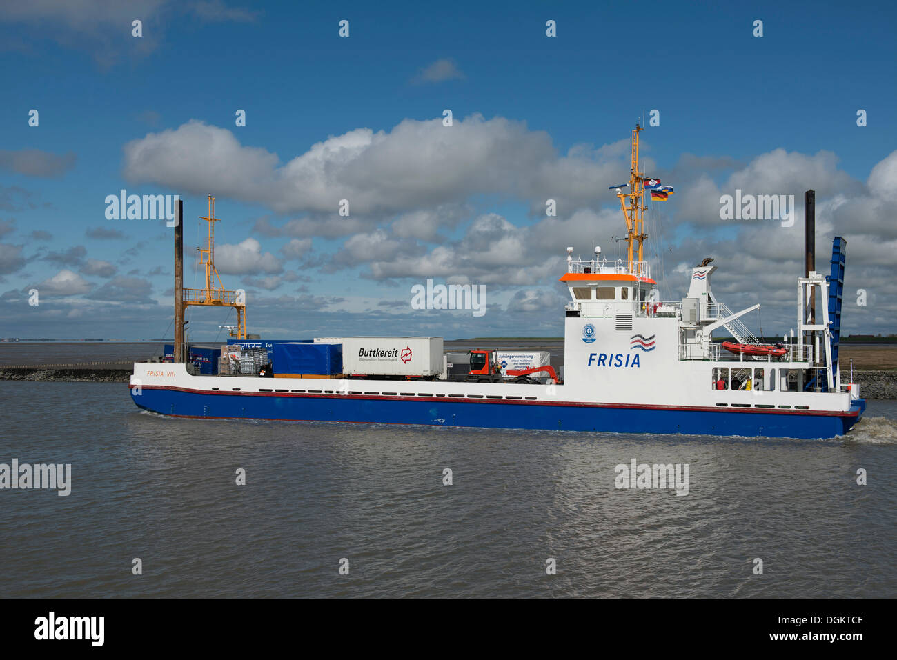 Frisia VIII, cargo ship for the supply of Norderney and Juist, Lower Saxony Wadden Sea, East Frisia, Lower Saxony - Stock Image