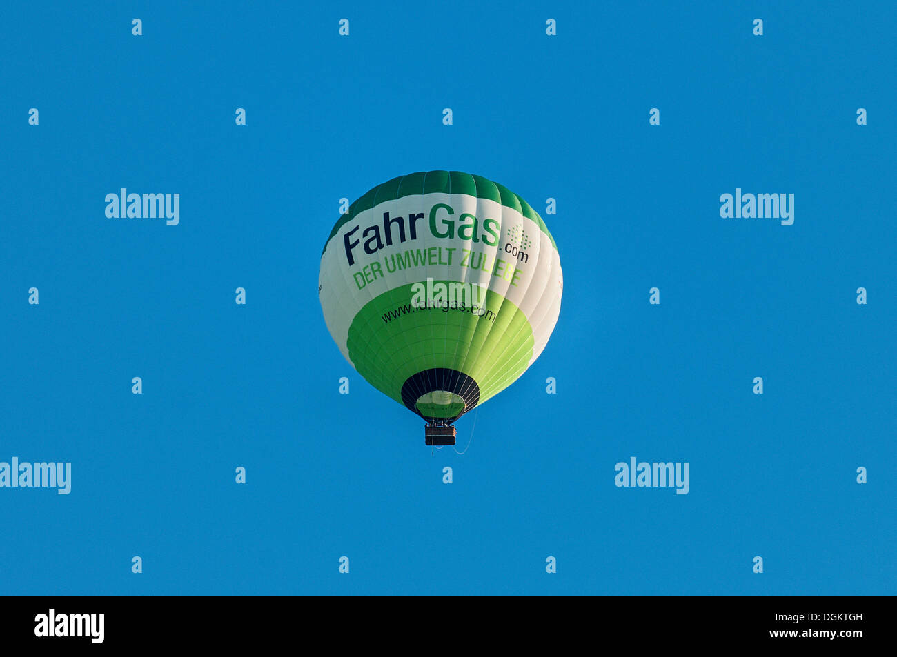 Hot air balloon, lettering Fahrgas.com, an initiative to modify cars to run on LPG, Liquefied Petroleum Gas - Stock Image