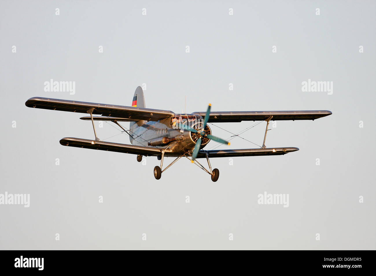Vintage aircraft, Antonov AN-2, the largest single engine biplane in the world, Breitscheid Airshow 2010, Hesse - Stock Image