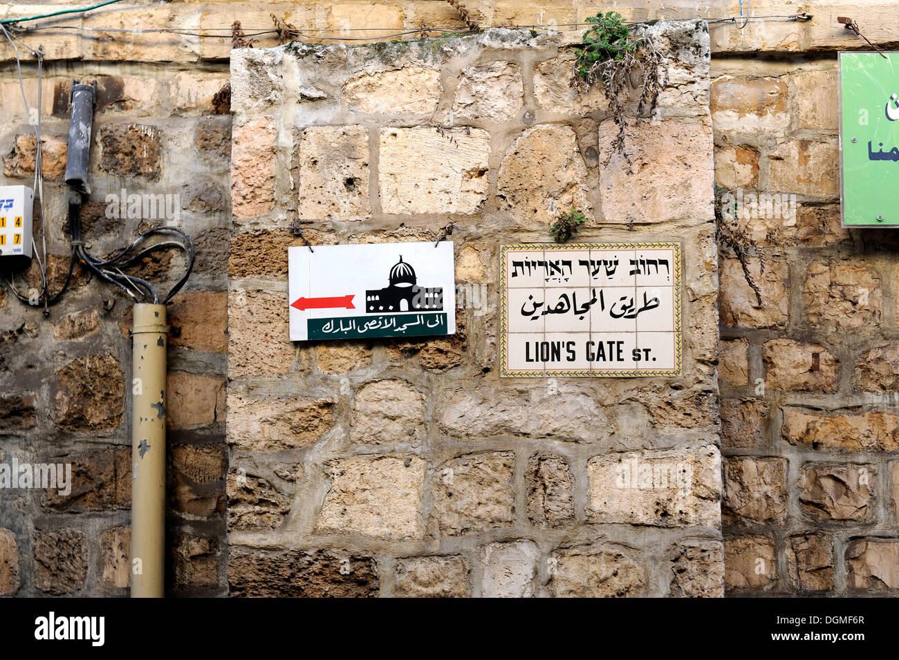Start of Via Dolorosa, Way of Suffering, at the Lion's Gate, Muslim Quarter, Old City of Jerusalem, Israel, - Stock Image