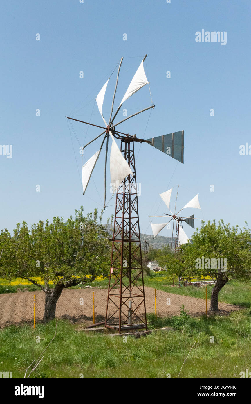 Wind energy, windmill used as a water pump for irrigation, Psychro, Lasithi Plateau, Crete, Greece, Europe - Stock Image