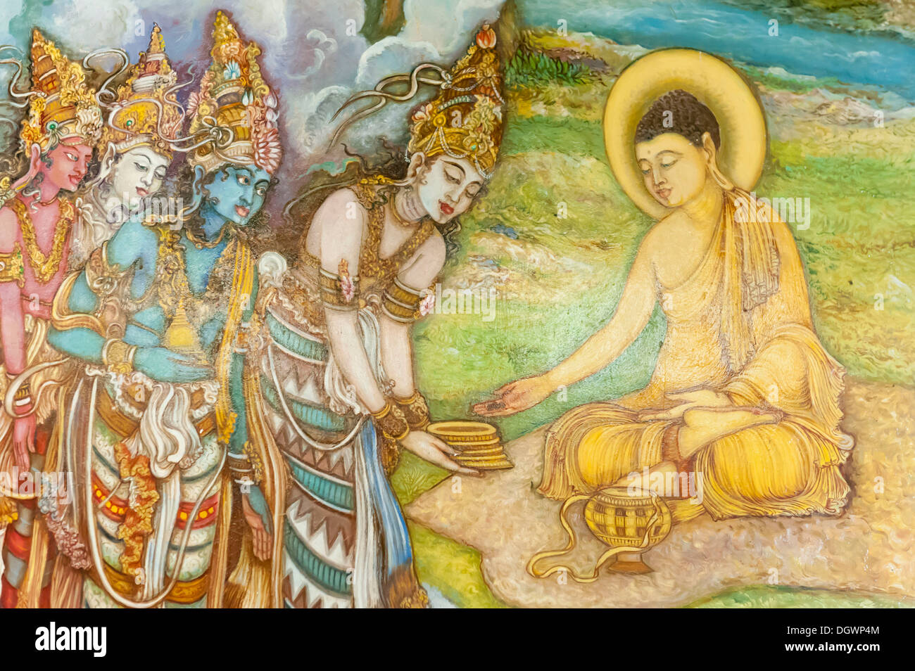 Mural painting, illustration of Buddha and worshippers, Buddhist Mahiyangana Temple, Mahiyangana, Sri Lanka - Stock Image