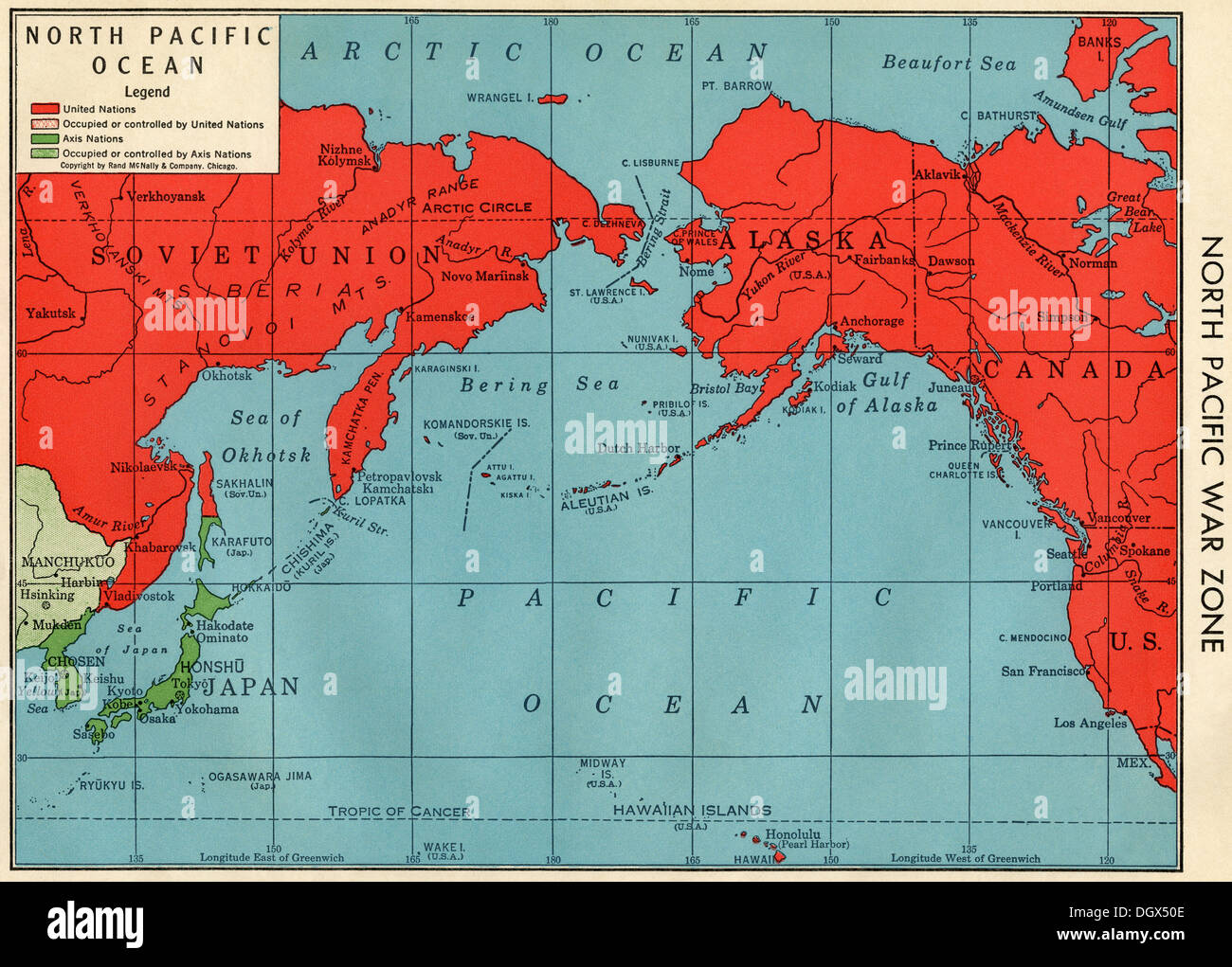 Old map of North Pacific War Zone in WWII, 1940\'s Stock Photo ...