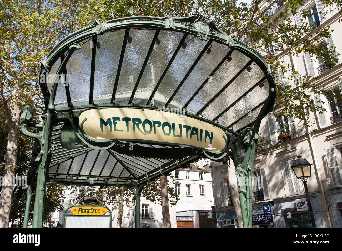 Entrance of the metro station Abbesses with original art nouveau ...