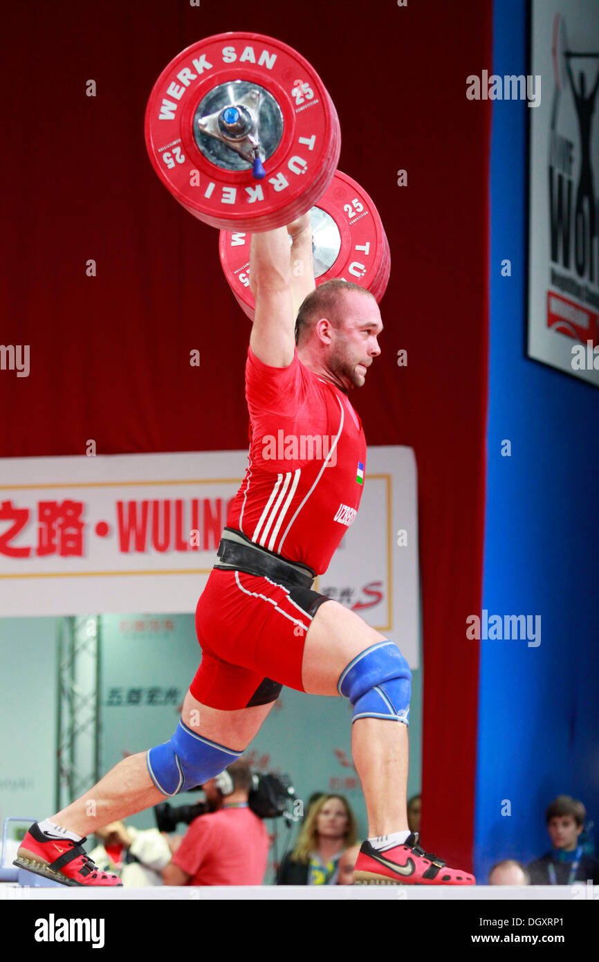 Wroclaw, Poland. 27th Oct, 2013. World Champion Ruslan Nurudinov (UZB) during Men's 105 KG Group A Final at - Stock Image