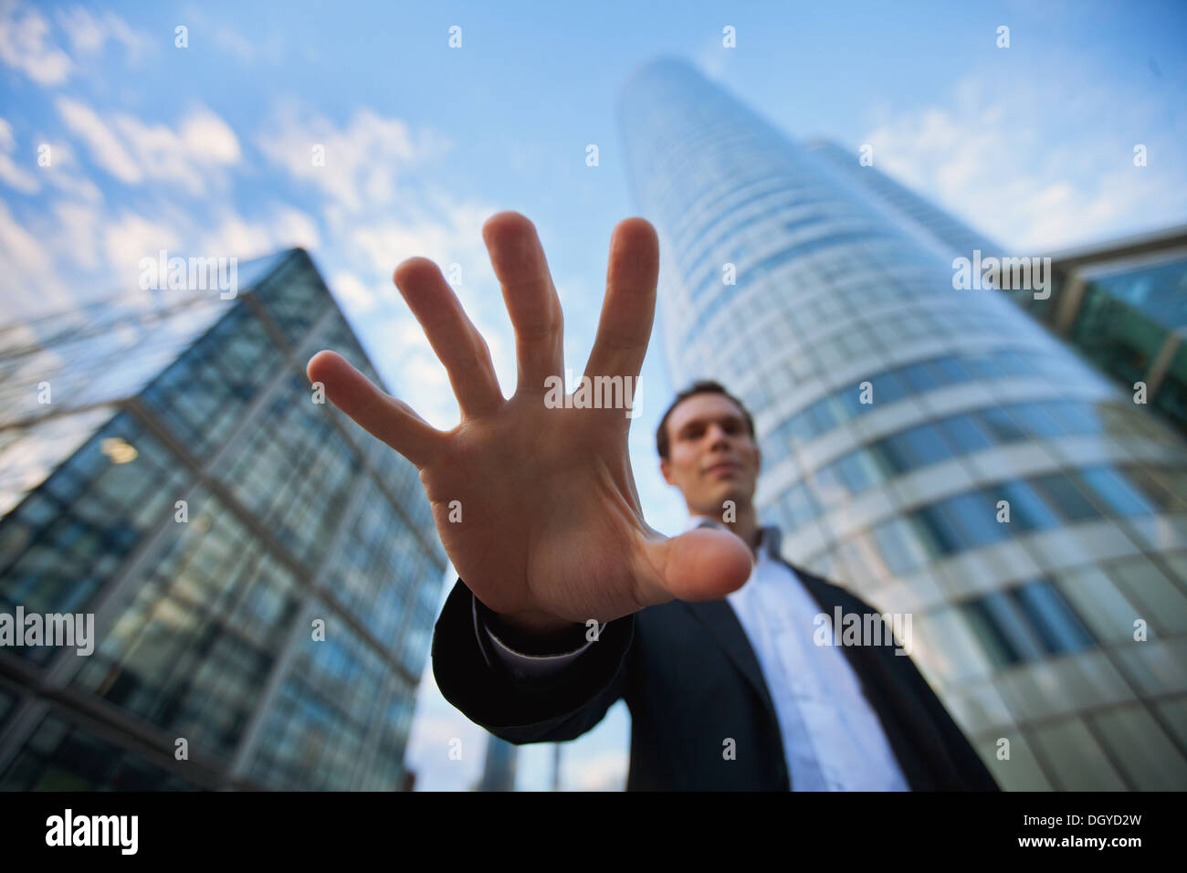 threat in business, steal money - Stock Image