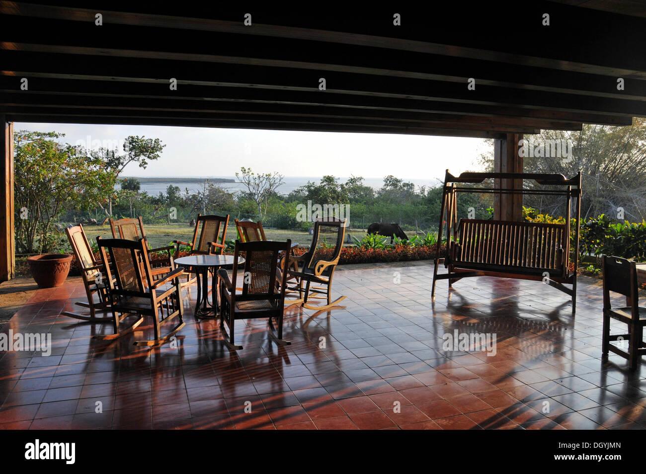 Terrace, Cayo Saetia, Cuba, Caribbean, Central America Stock Photo