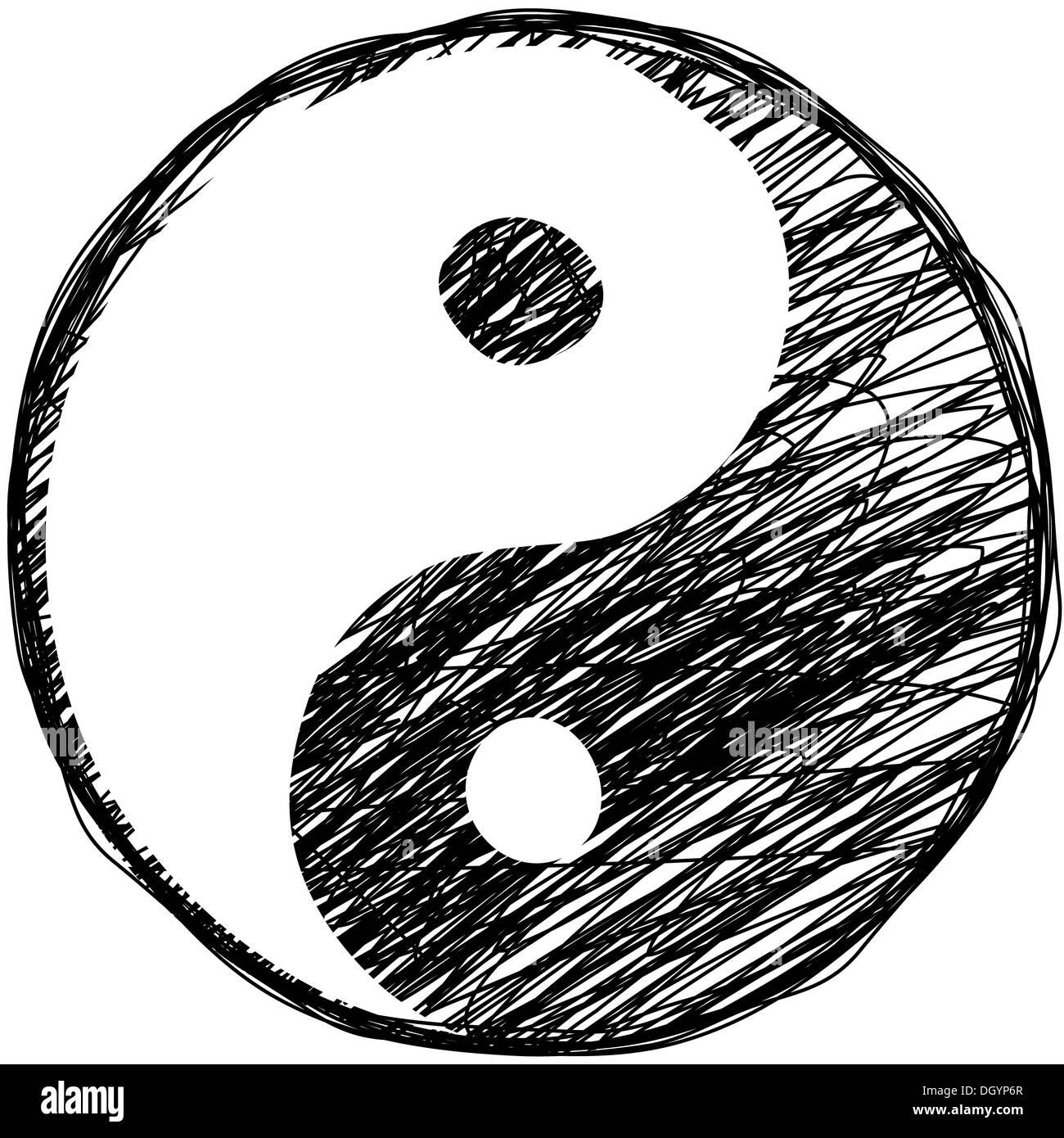 Doodle Yin Yang Symbol Stock Photo 62075743 Alamy