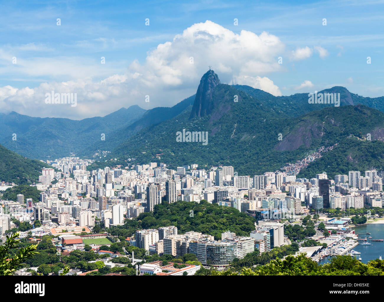Rio de Janeiro city, Brazil - aerial from Sugarloaf Mountain; Christ the Redeemer statue on Corcovado mountain in - Stock Image