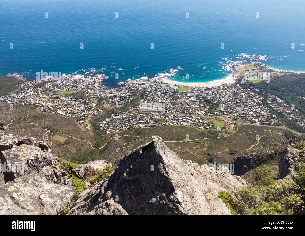 View of Cape Town from Table Mountain in South Africa - Stock Image