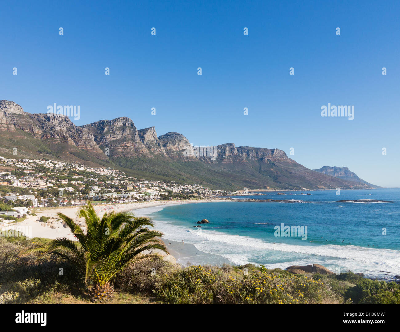 Beach at Camps Bay Cape Town with Table Mountain in background, South Africa coast - Stock Image