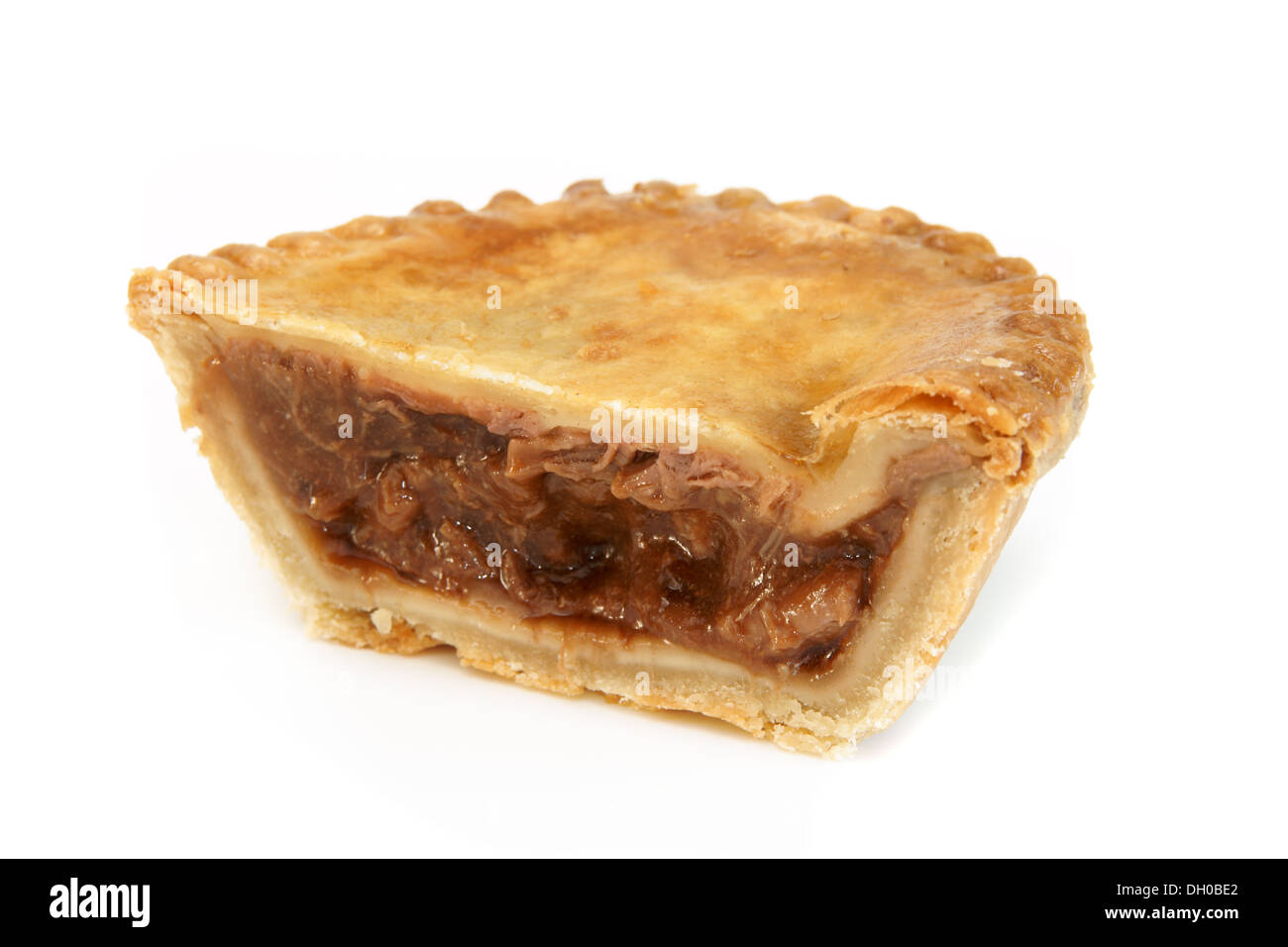 Savoury meat pie with a beef filling on a white background Stock Photo