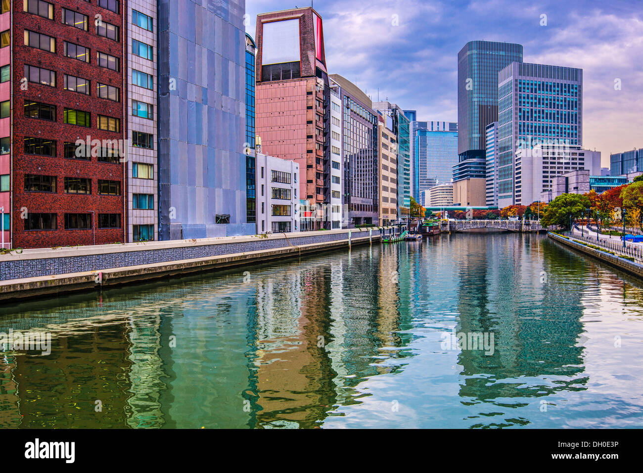 River view in Osaka, Japan. - Stock Image