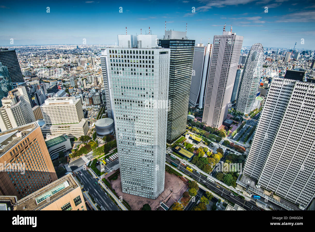 Financial buildings in Shinjuku, Tokyo, Japan. - Stock Image