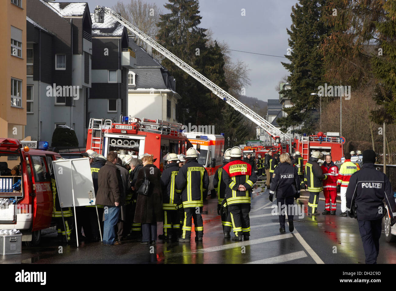 Firefighter operation, after a house fire in Linz, Rhineland-Palatinate - Stock Image
