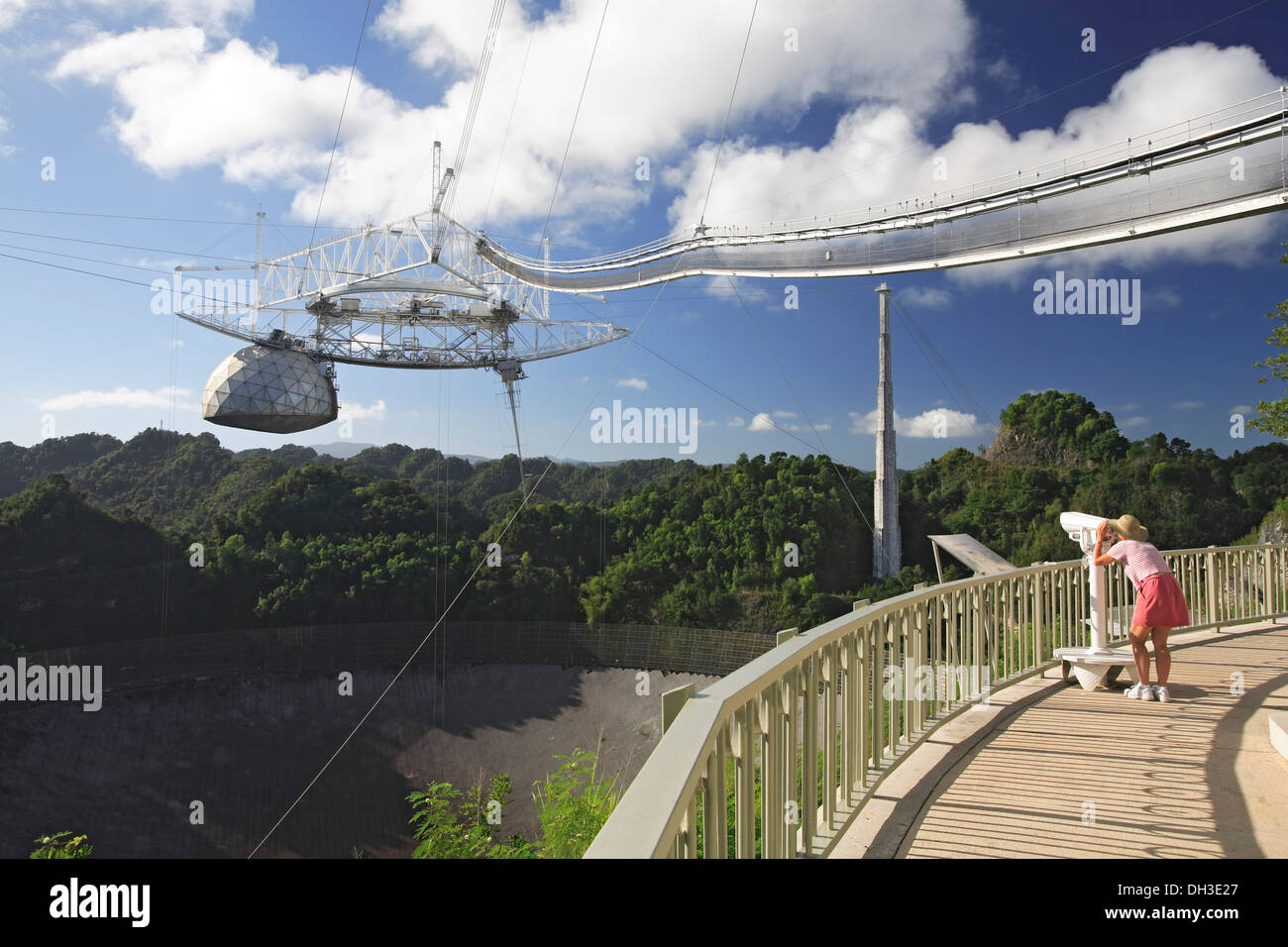 Woman looking at antennas through binoculars, Arecibo Observatory, Arecibo, Puerto Rico Stock Photo