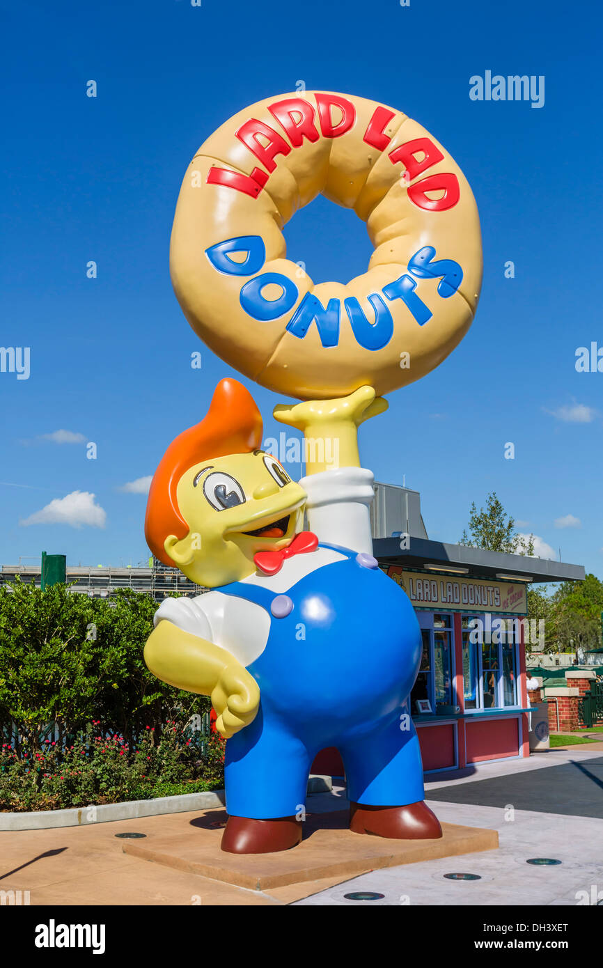 Lard Lad Donuts stand in the Simpsons area at Universal Studios, Universal Orlando Resort, Orlando, Central Florida, - Stock Image