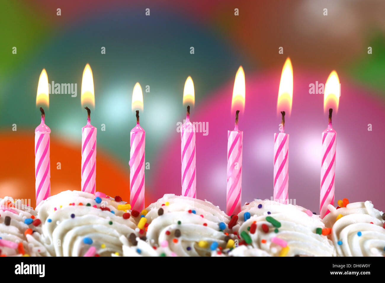 Birthday Cake Balloons Images ~ Happy birthday celebration with balloons candles and cake stock