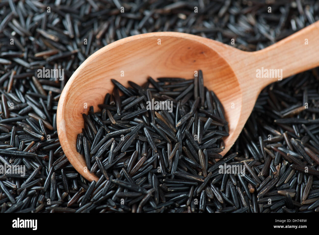 Wild Rice In Wooden Spoon - Stock Image