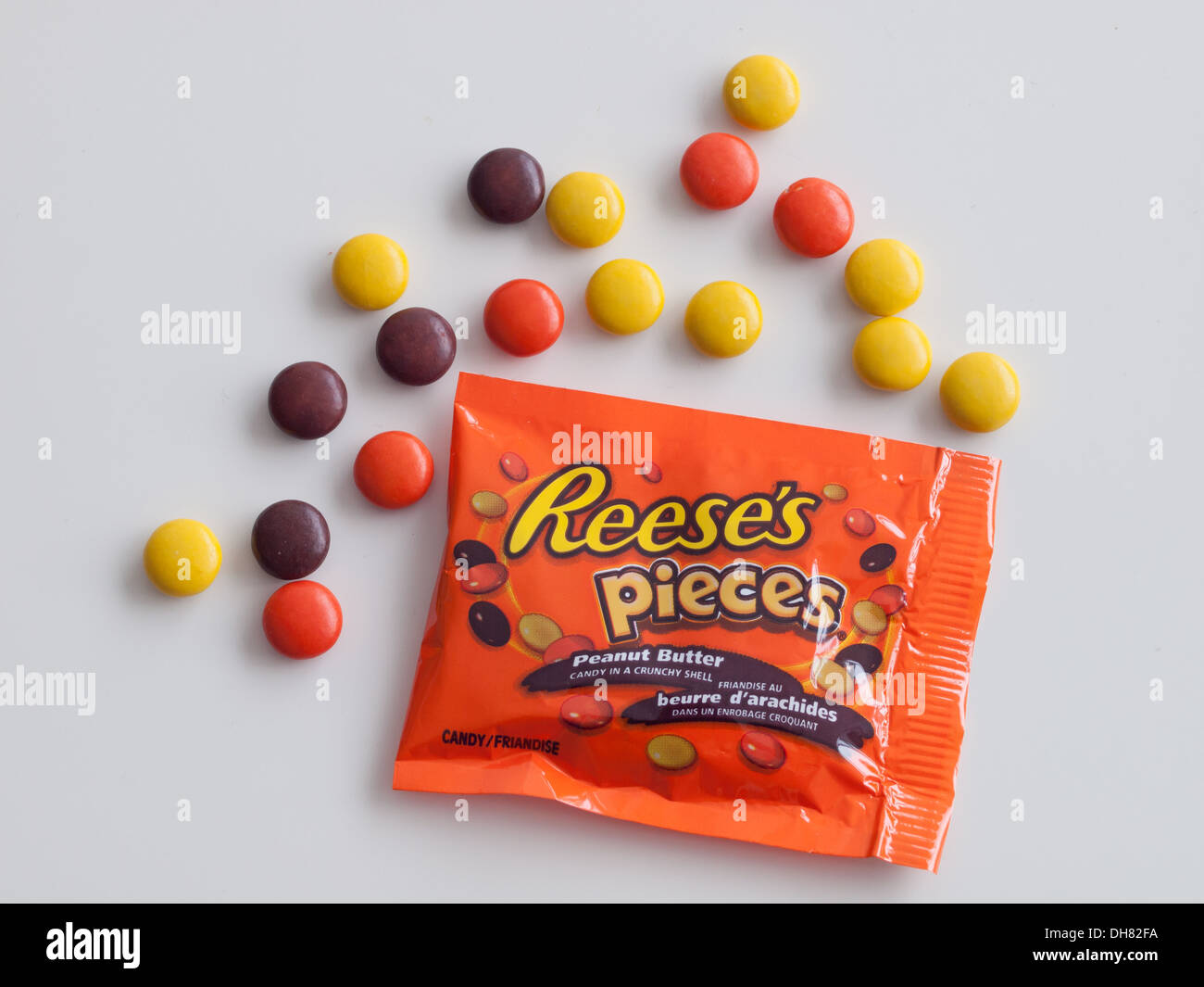 "Reese's Pieces peanut butter candy, manufactured by The Hershey Company.  Canadian Halloween ""fun-size"" packaging Stock Photo"