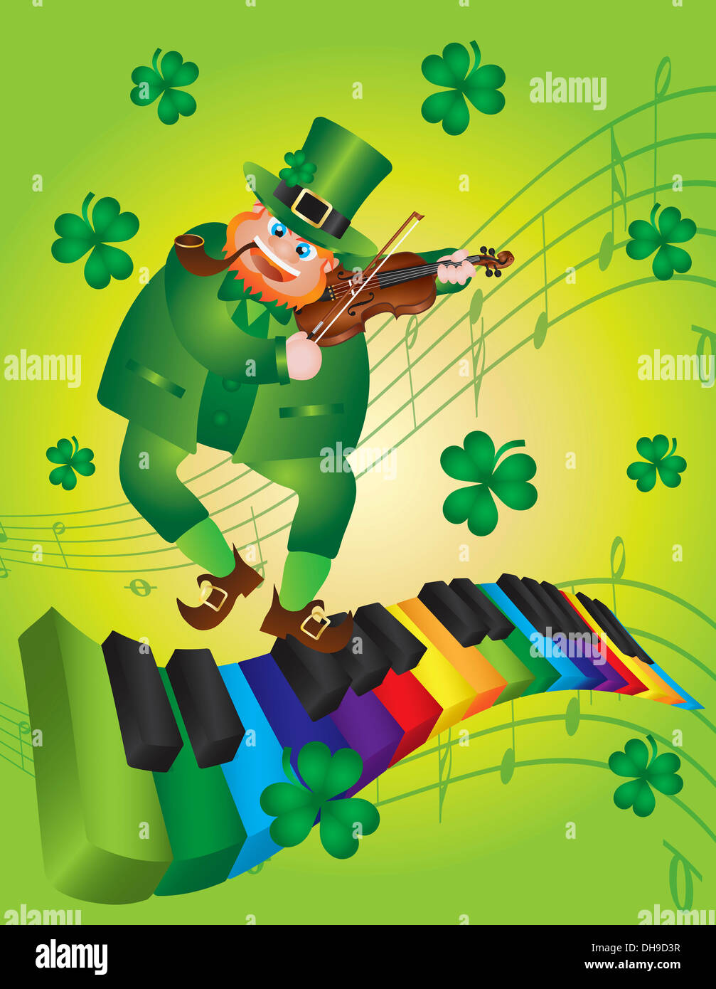 St Patricks Day Leprechaun Playing Violin Dancing On Rainbow Colors Piano Wavy Keyboard Shamrock Background Illustration