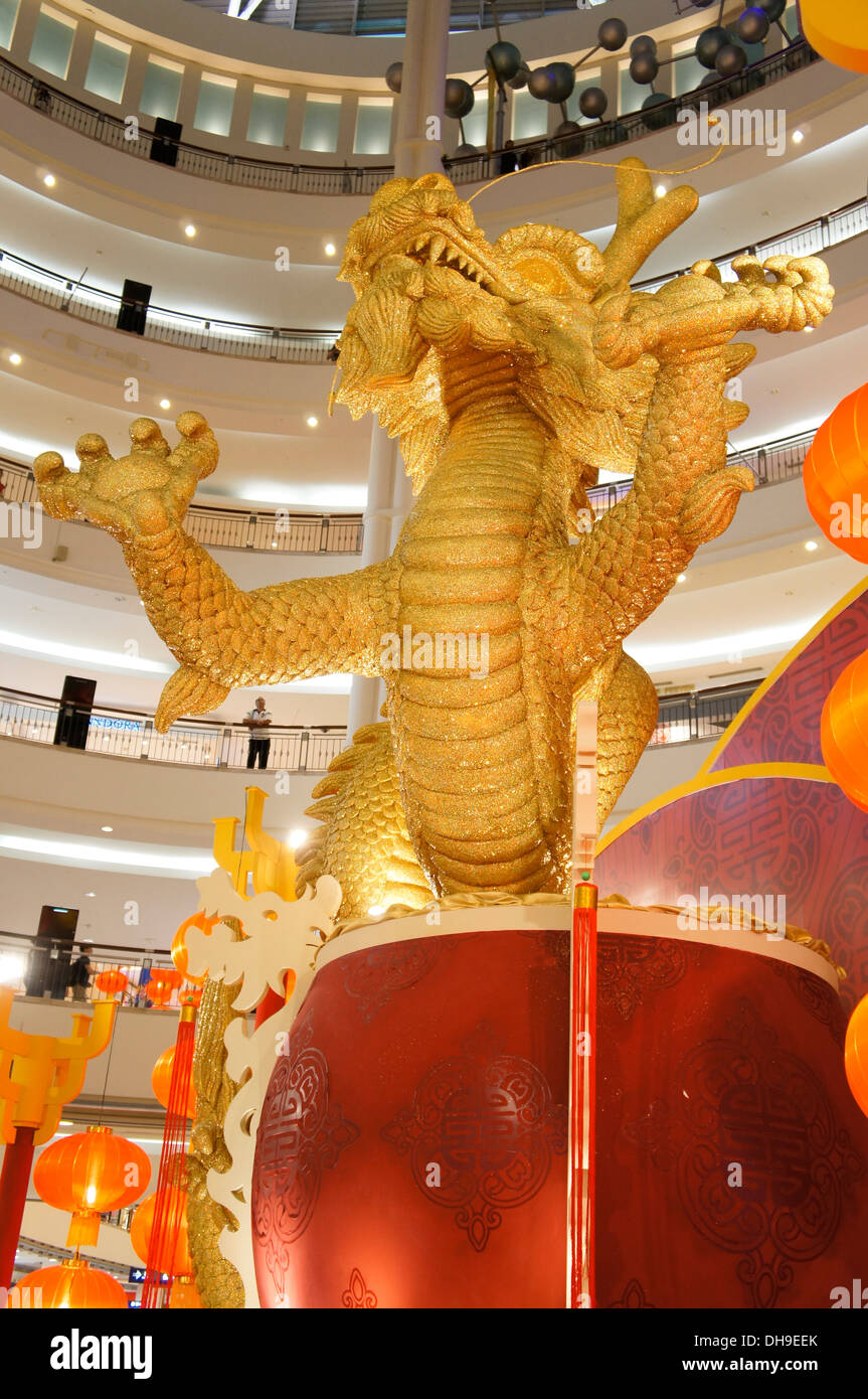 gigantic dragon at KLCC shopping mall - Stock Image