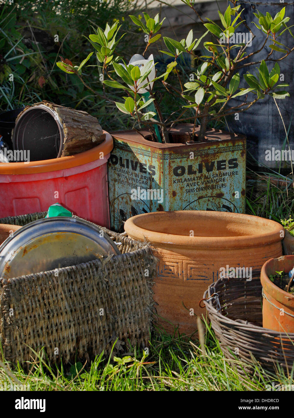 A quayside garden with an eclectic mix of containers at Faversham ...