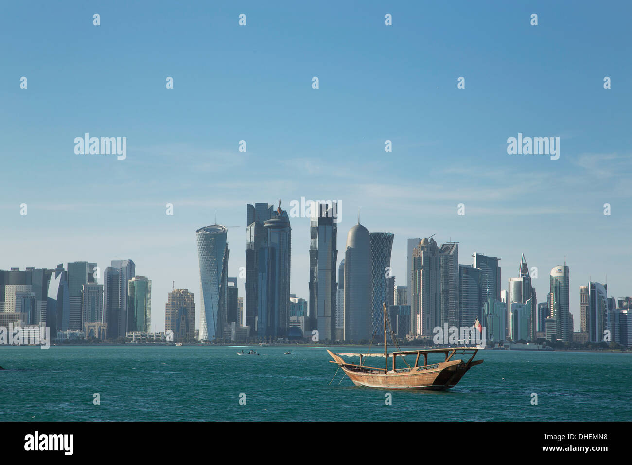 Futuristic skyscrapers in Doha, Qatar, Middle East - Stock Image