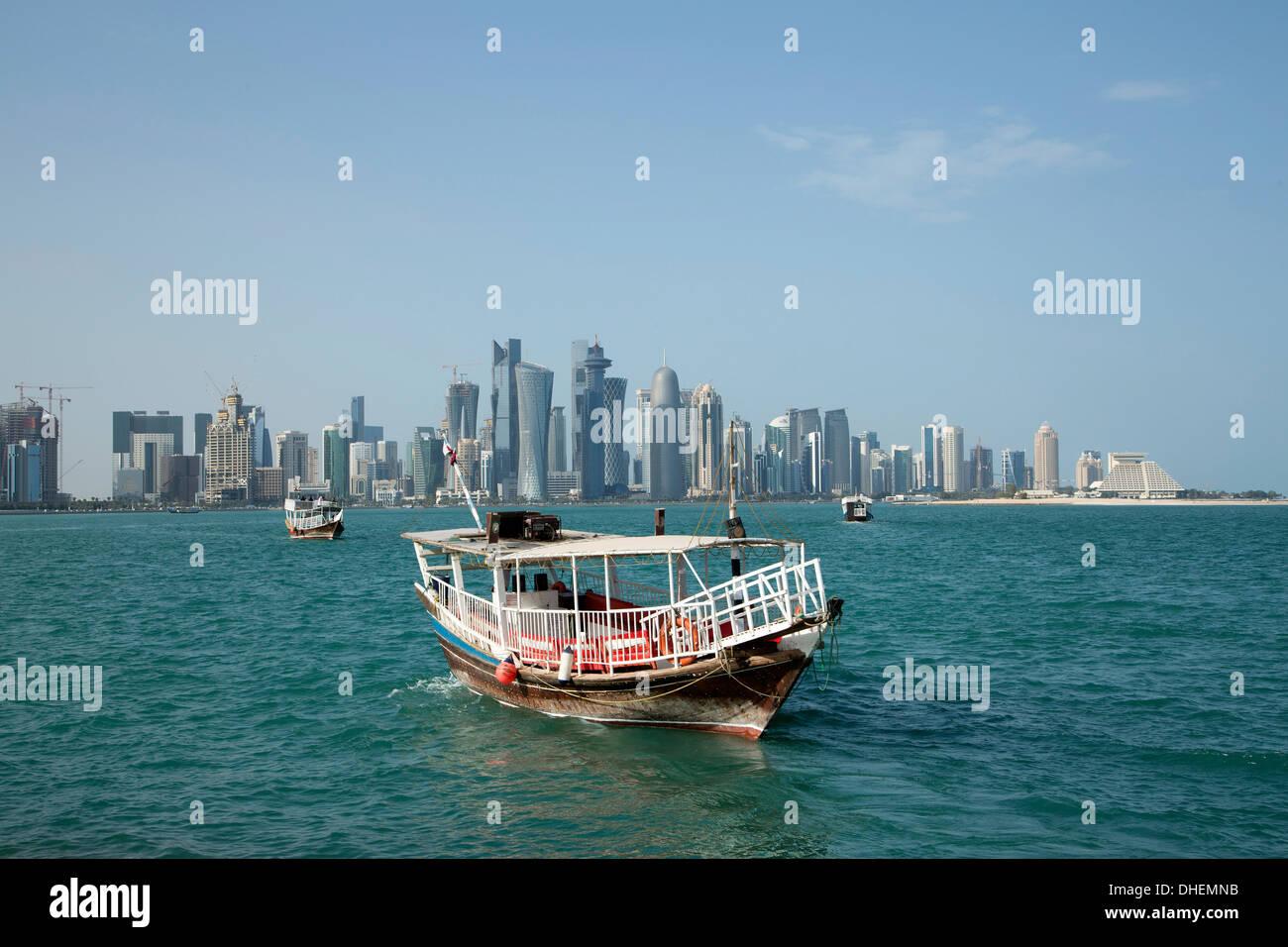 Futuristic skyscrapers in Doha, Qatar, Middle East - Stock Image