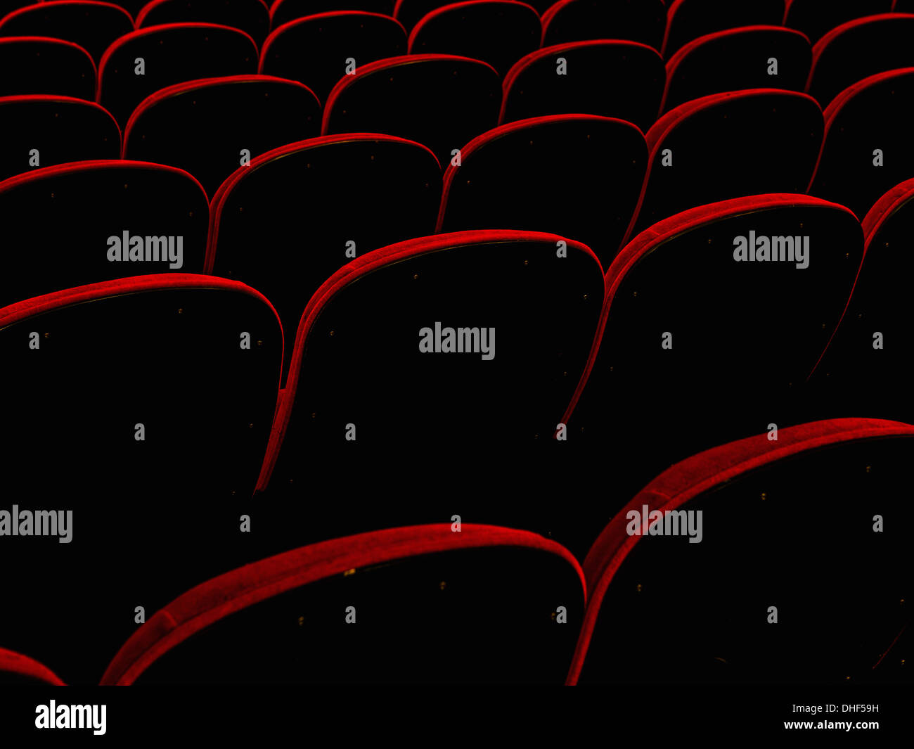 Empty retro cinema seats - Stock Image