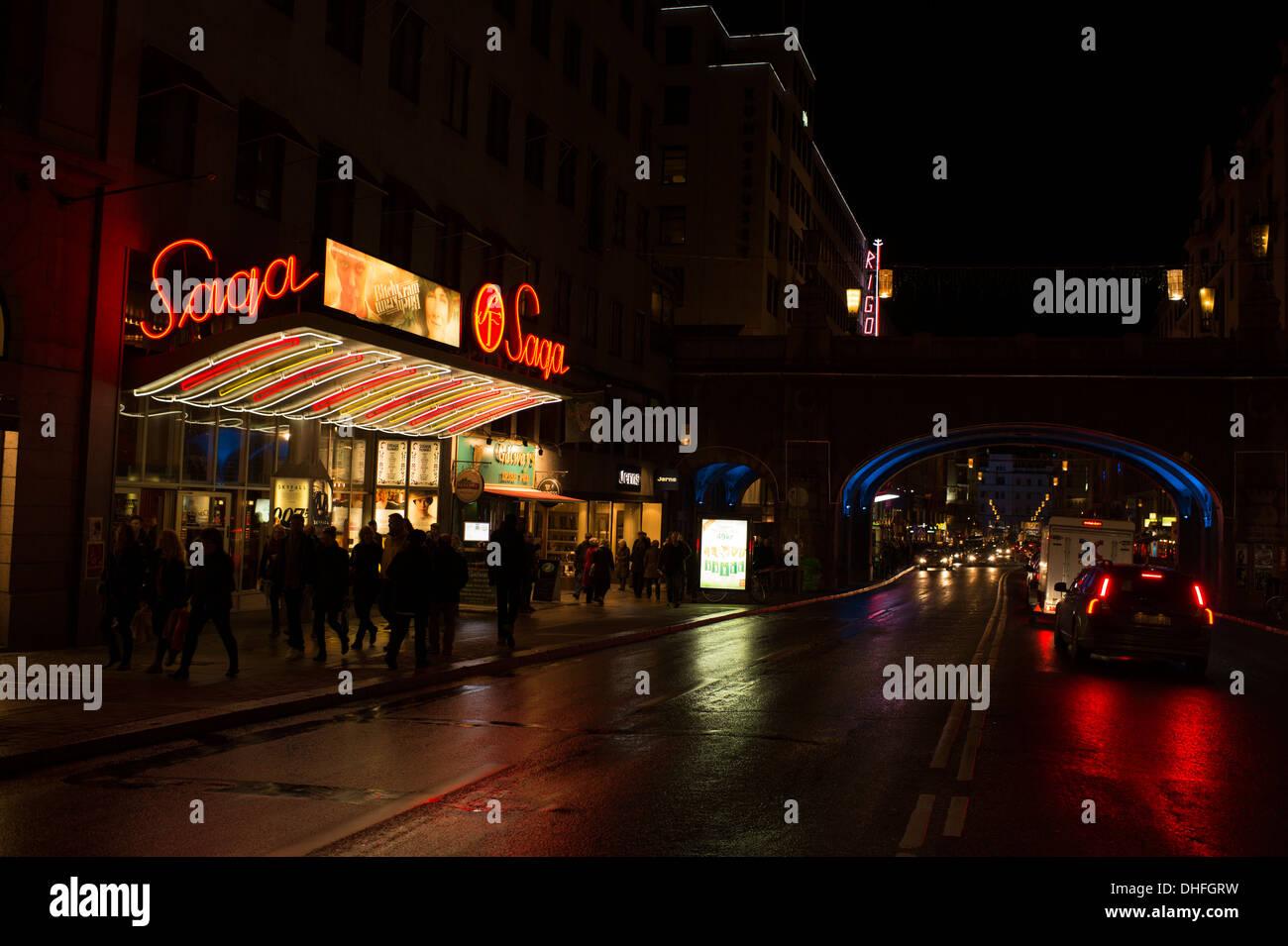 Classic cinema Saga in Stockholm, Sweden. Opened in 1937. - Stock Image