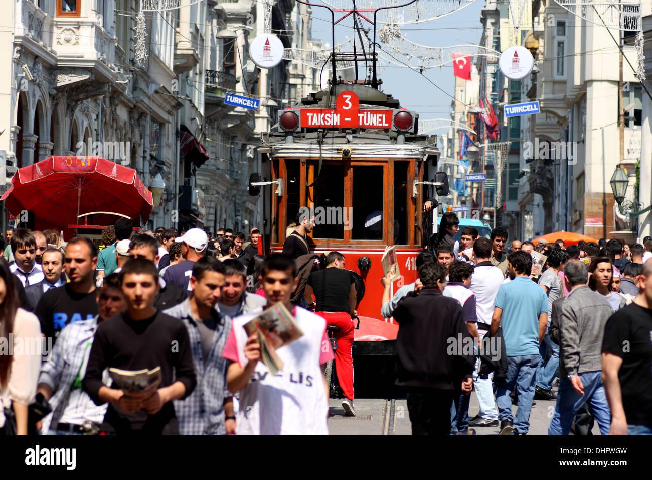 Tram on a crowded Istiklal Caddesi, Istanbul, Republic of TurkeyStock Photo