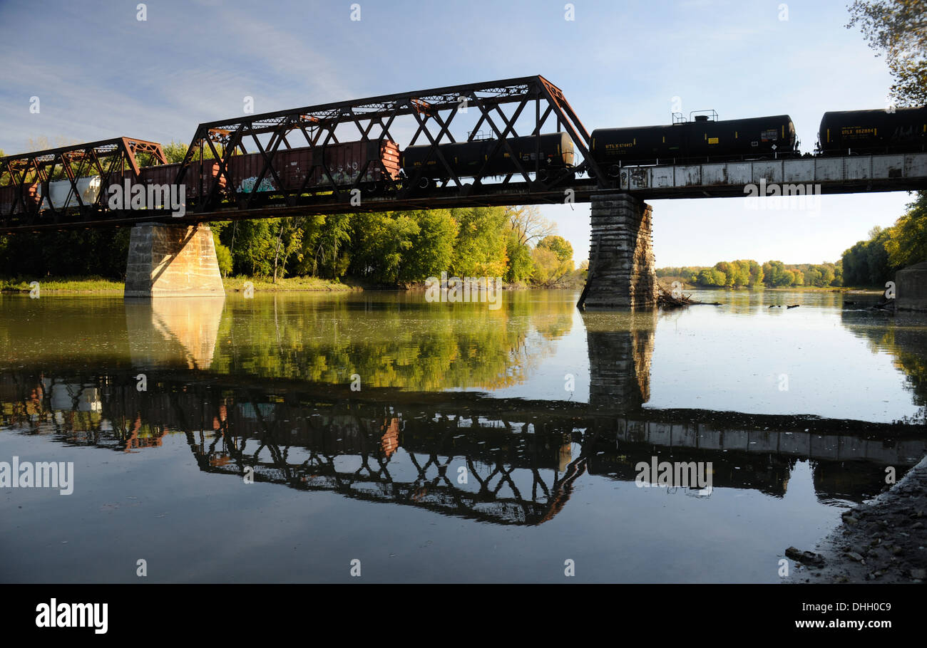 Railroad Bridge over the Wabash River, West Lafayette, Indiana - Stock Image