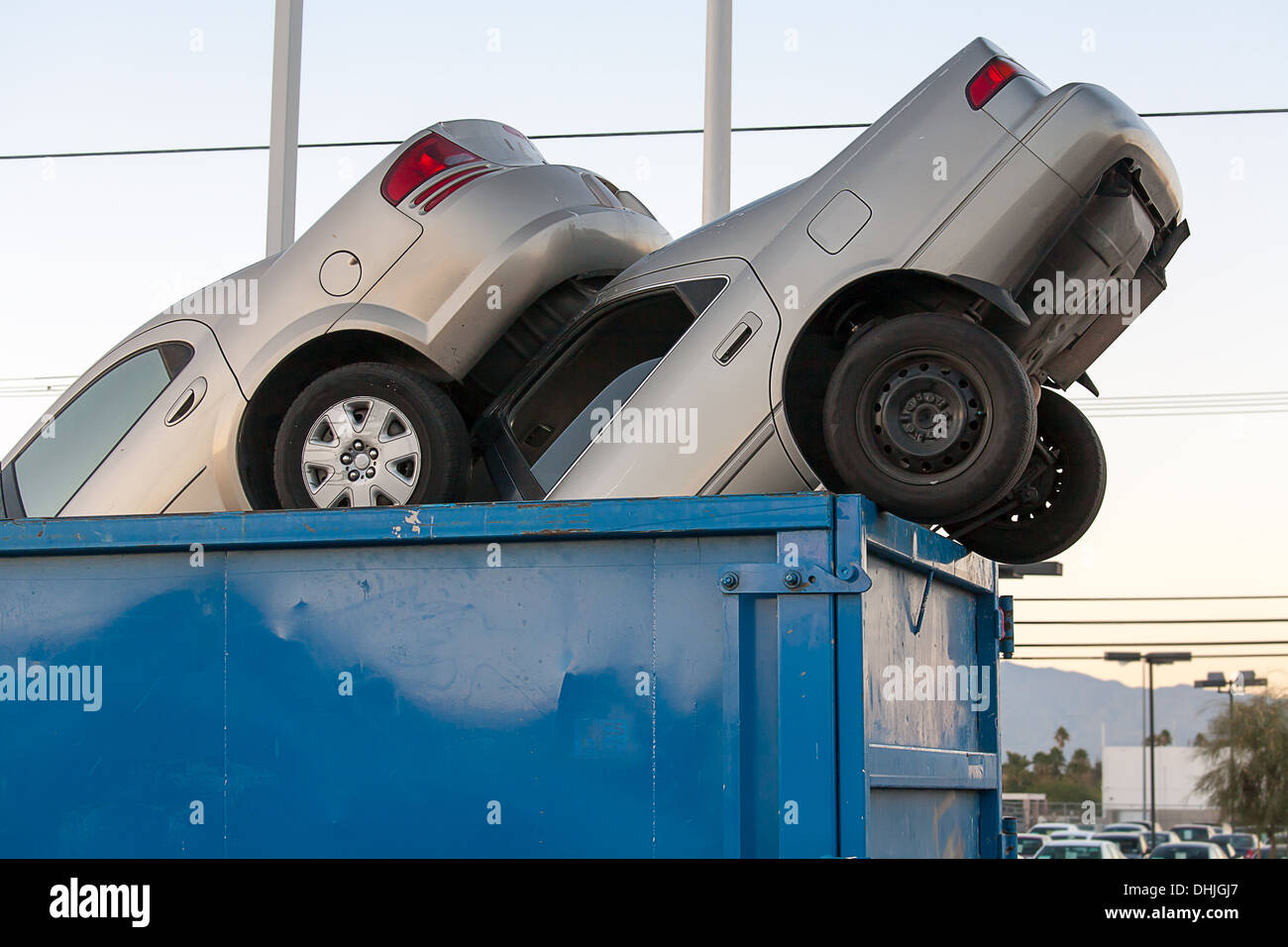 2 junk cars in a dumpster Stock Photo: 62488447 - Alamy