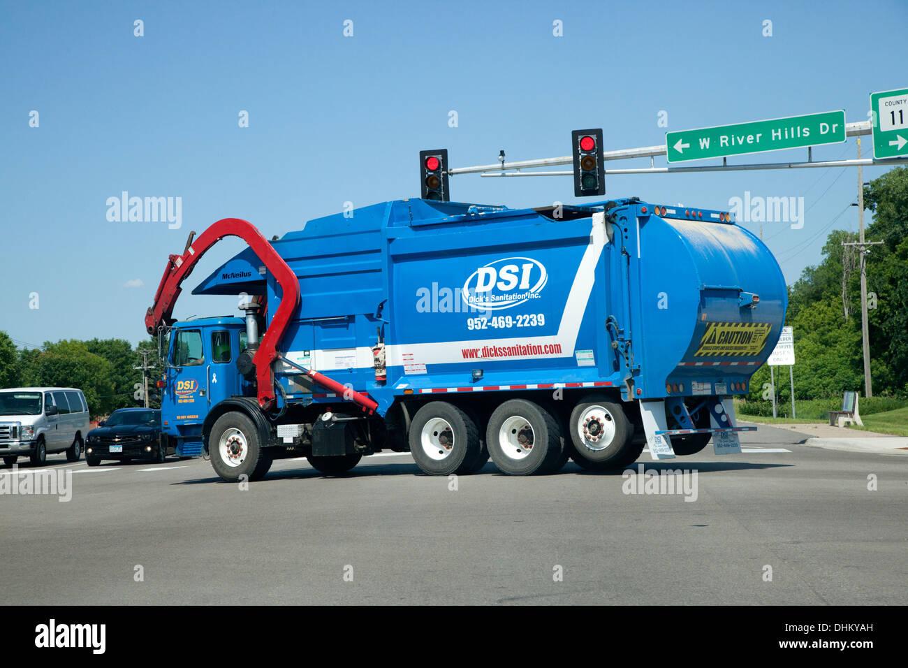 Gigantic garbage pickup truck. Burnsville Minnesota MN USA - Stock Image