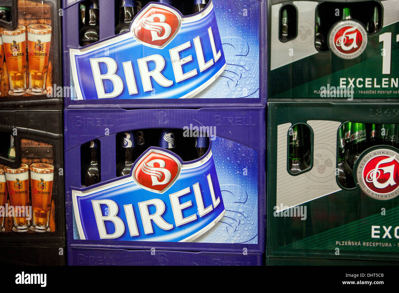 non-alcoholic beer Birell crate logo sign Czech - Stock Image