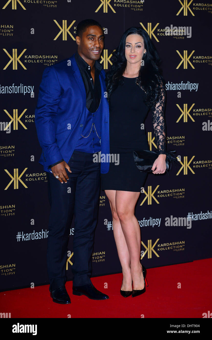 London UK 14th Nov 2013 : Simon Webbe,Maria Kouka attends the launch party for the Kardashian Kollection for Lipsy - Stock Image
