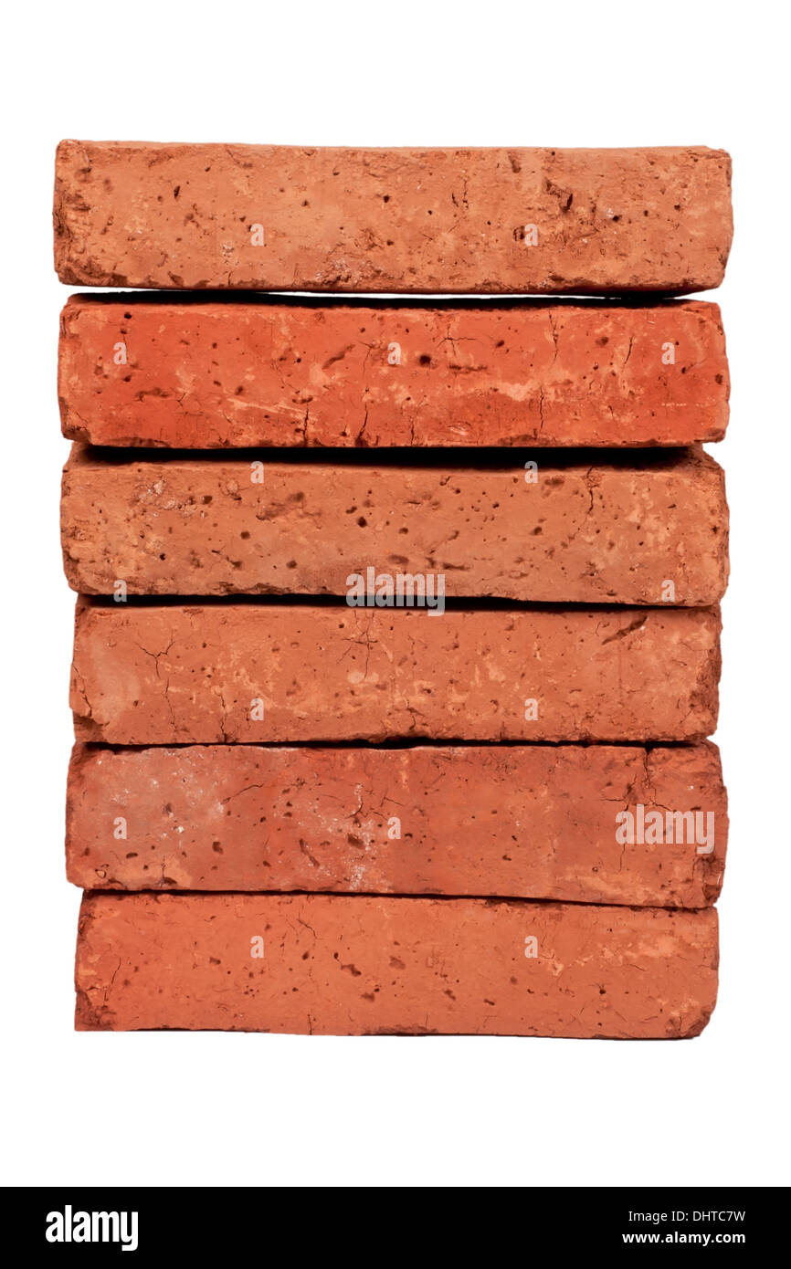 Red clay brick, isolated on white - Stock Image