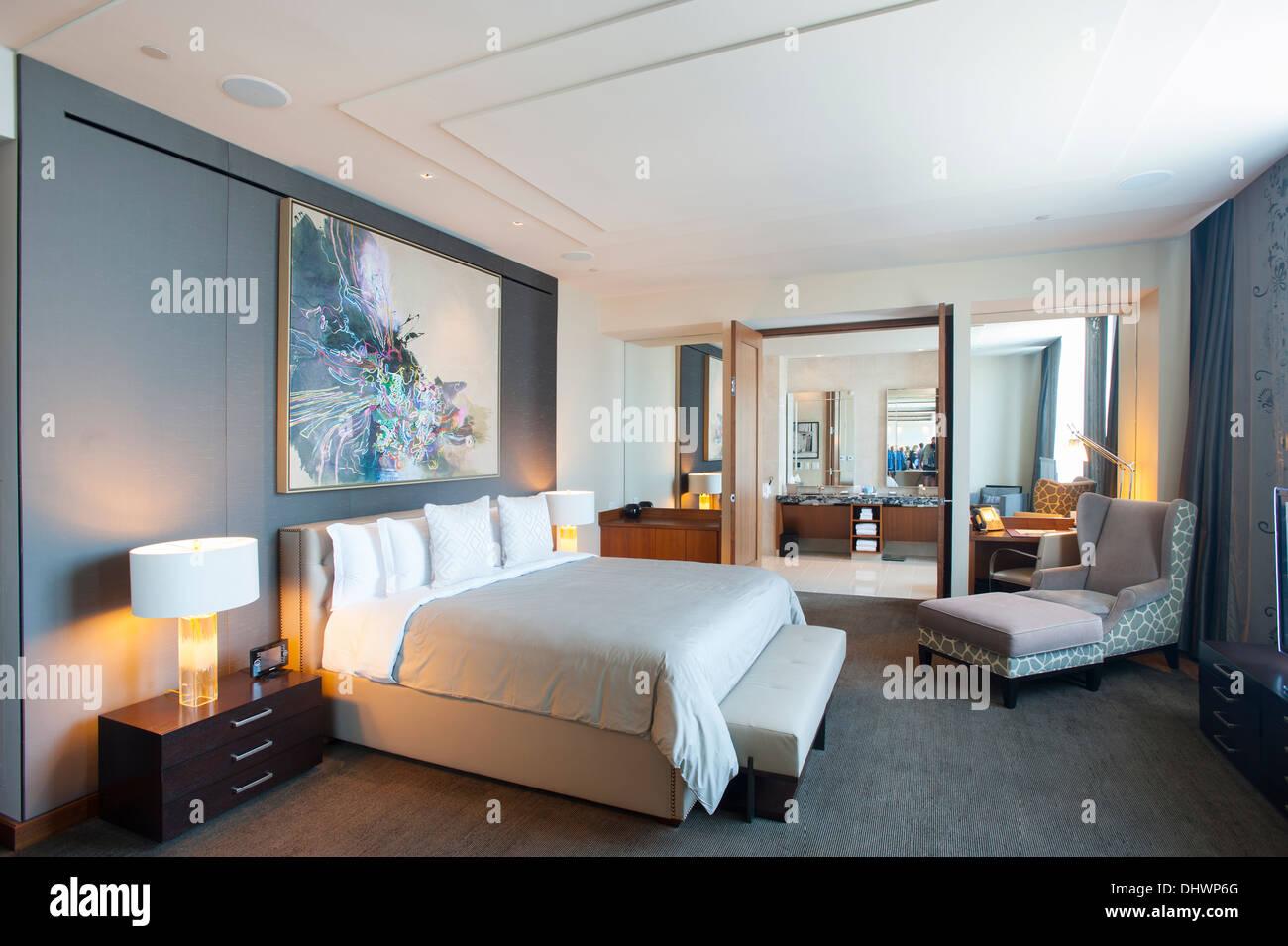 USA America New Jersey NJ N.J. Atlantic City Revel Casino Hotel on the boardwalk high roller suite bedroom Stock Photo