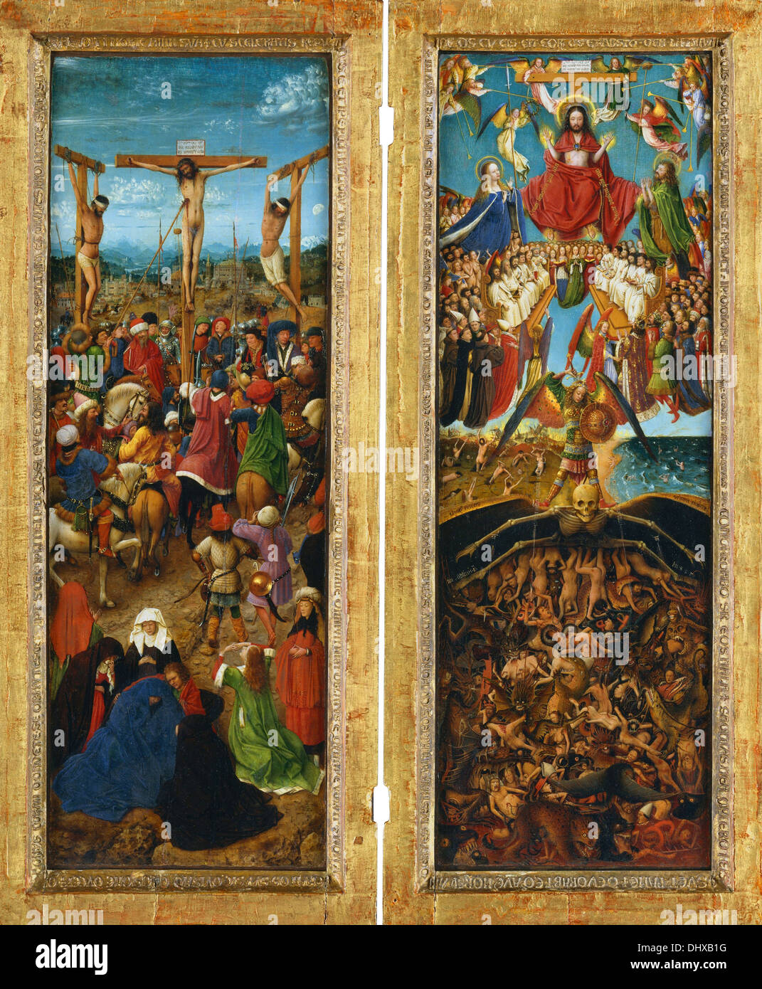 The Crucifixion and The Last Judgment diptych - by Jan van Eyck, ca. 1435–40 Stock Photo