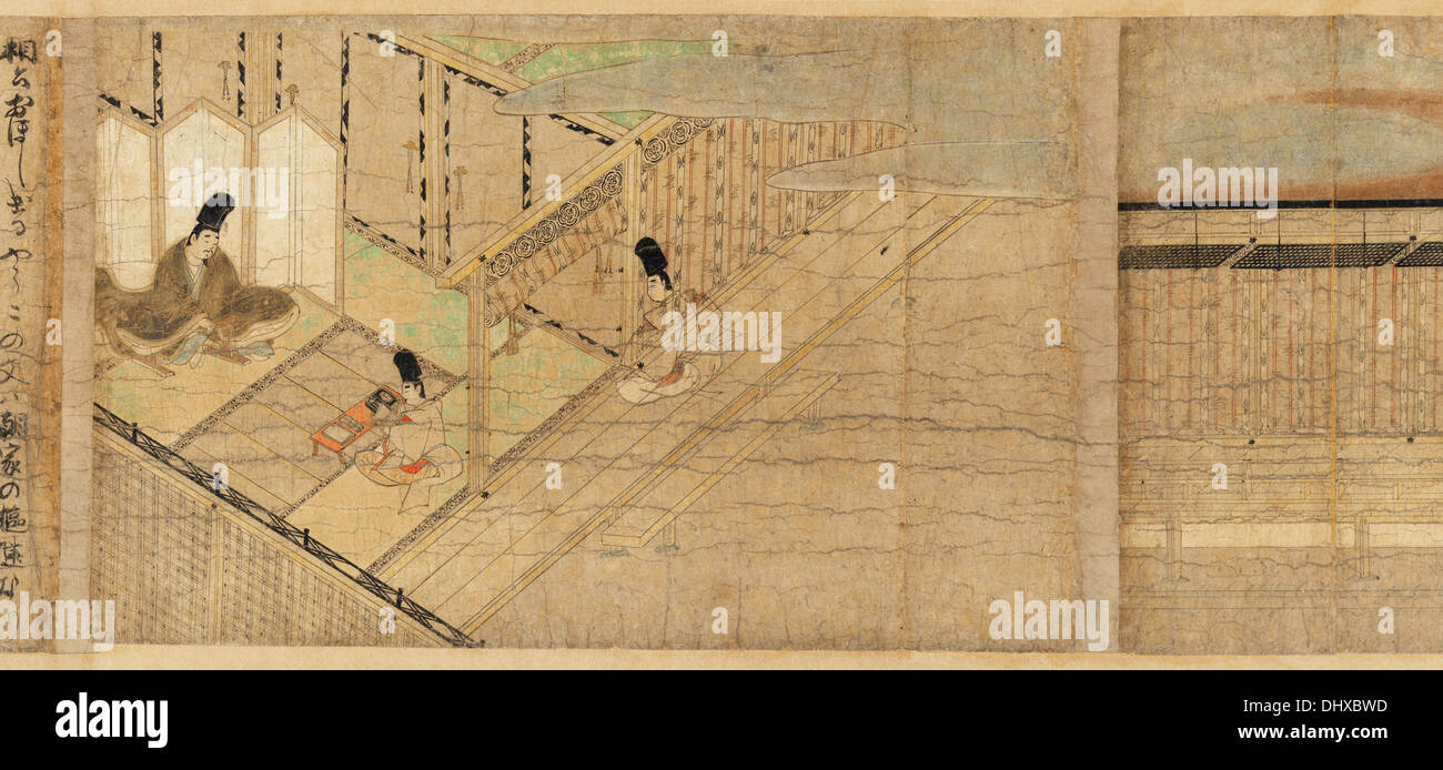 Illustrated Legends of the Kitano Tenjin Shrine ( Kitano Tenjin engi emaki ) - late 13th century - Stock Image