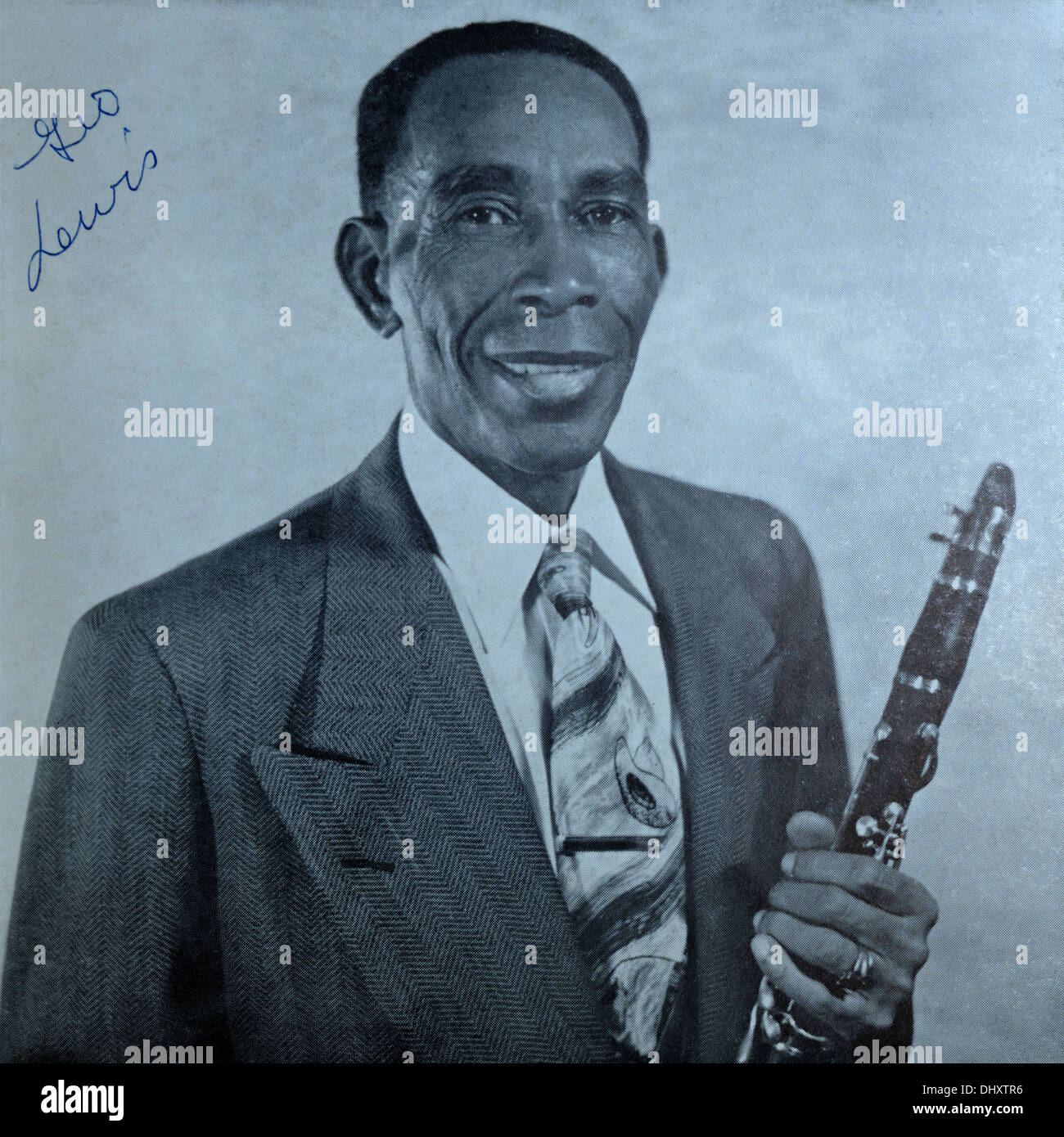 Autographed photograph of George Lewis, New Orleans jazz clarinetist. Stock Photo