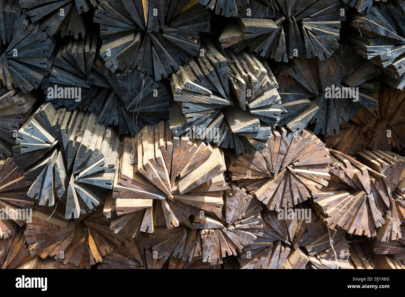 Wooden shingle recycled ready for roof covering Lutowiska Bieszczady Poland Europe - Stock Image