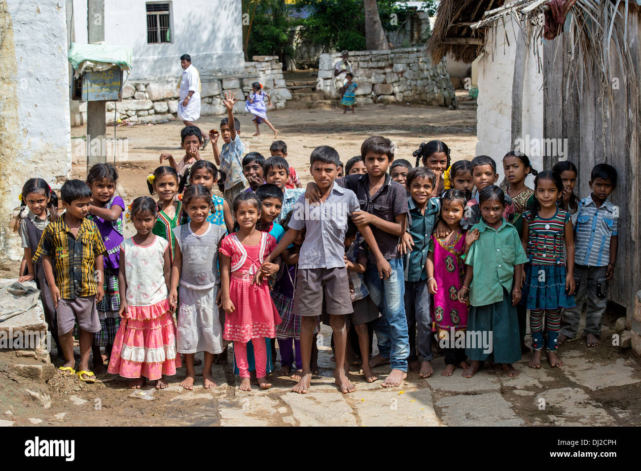 Happy young Indian children in a rural indian village. Andhra Pradesh, India - Stock Image